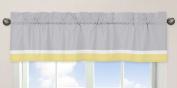 Yellow, Grey and White Mod Garden Girls Window Valance