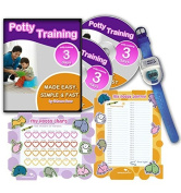 Potty Training In 3 Days - Ultimate Potty Training for Boys. Complete Kit Includes Potty Training In 3 Days Audio Guide, Laminated Potty Training Charts & Blue Potty Time Watch