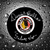 Signed Dennis Hull Puck - Chicago Blackhawks Silver Jet - Autographed NHL Pucks