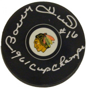 Bobby Hull Signed Puck - Logo w 1961 Cup Champs - Autographed NHL Pucks