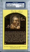 LEE MACPHAIL Signed Yellow HOF Plaque Postcard PSA/DNA Slabbed (d.2012) 1974-1984 American League President New York Yankees and Baltimore Orioles Board of Directors 1998 Hall of Fame Member
