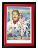 Mike Schmidt autographed print of Frank Stapleton painting professionally framed and double matted