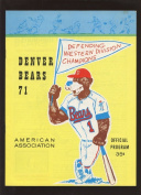 1971 AA Minor League Baseball Programme Denver Bears NRMT