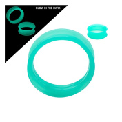 Super Thin Walled Glow-in-the-dark Silicone Double Flared Tunnels - Sold As a Pair - Choose From 4 Colours in 3 Sizes Available (00 Gauge