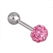 Top Plaza 1 Pair CZ Gem Beads 16G Stainless Steel Bar Tragus Cartilage Ear Studs Earrings, 5mm