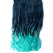 Girl's Wave Curly Clip Hair Piece Colourful Gradient Ombre Hairpieces Extensions Dark Blue-Light Blue