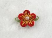 40 Pcs Felt Flower W/bead Leaf Appliques/craft -8 Colours -(Pick Colour)