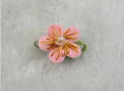 40 Pcs Felt Flower W/bead Leaf Appliques/craft -8 Colours -(Pick Colour)