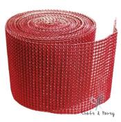 Red Diamond Mesh Wrap Roll Rhinestone Crystal Ribbon 11cm x 10 yards