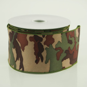 6.4cm Camouflage Green Polyester Ribbon 10 Yard Roll