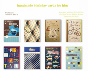 Assorted Handmade Embellished Birthday Cards Box Set, 8 Pack Birthday Card Assortment in Bulk For Him, Dad, Husband,