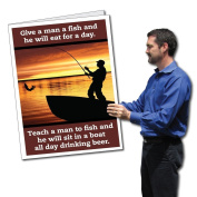 0.6mx0.9m Giant Retirement Card with Envelope - Fisherman Silhouette