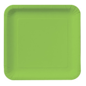 Creative Converting Touch of Colour 18 Count Square Paper Dinner Plates, Fresh Lime