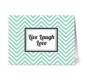 Modern Chevron 'Live Laugh Love' Mint - 24 Cards for $7.49 - Blank Cards w/ Grey Envelopes Included
