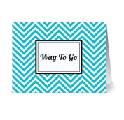 Modern Chevron 'Way to Go' Tiffany.Blue - 24 Cards for $7.49 - Blank Cards w/ Grey Envelopes Included