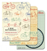 Cavallini Papers 10cm by 14cm Notebooks, Mini, Bicycles, Set of 3