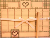 Magnetic Memo Weekly Calendar Notepad Set, 52 Sheets with Pen & Decorative Magnet -Country Heart Design