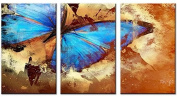 Santin Art-Butterfly In Grunge Effect-Hand-Painted Oil Paintings on Canvas Stretched and Framed Modern Abstract Wall Art Paintings for Wall Decorations Home Decorations C89