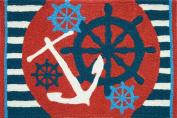 Anchors Away Ships Wheel Nautical Sailing Area Accent 50cm X 80cm Jellybean Rug