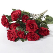 Beautiful and Life Like Artificial Assorted Red Rose Bouquet Perfect for Centrepieces