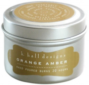 K Hall Designs Candle Tin, Orange Amber