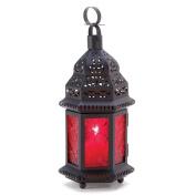 Red Glass Metal Moroccan Candle Holder Hanging Lantern