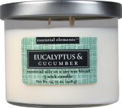 Candle-lite Essential Elements 410ml 3 Wick Candle with Soy Wax, Eucalyptus and Cucumber