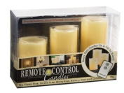 Everlasting Glow LED Ivory Pillar Candles, Remote Control, Set of 3, 7.6cm x 4, 5, 15cm Height