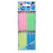 Birthday Candles, 80 Count, Spiral Pastels