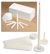 Church Service Ceremony Vigil Devotional Unscented 1.3cm x 11cm White Candle with Drip Protector - 50 per Box