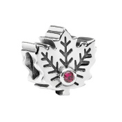 Pandora Maple Leaf with Synthetic Ruby in 925 Sterling Silver, 791215SRU