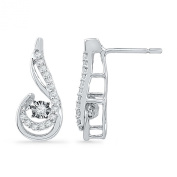 Sterling Silver Round Diamond In Motion Fashion Earring