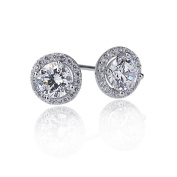 Lavish Collection Rhodium Plated Sterling Silver Round Halo Setting 1 Carat on Each Side Cubic Zirconia Stud Earrings