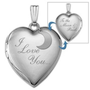 "Sterling Silver ""to the Moon and Back"" Heart Locket 1.9cm X 1.9cm"