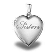 "Sterling Silver ""Sisters"" Heart Locket 1.9cm X 1.9cm"