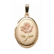 14K Gold Filled Rose Oval Locket 1.9cm X 2.5cm