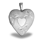 Sterling Silver Butterfly Heart Locket 1.9cm X 1.9cm