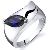 Created Sapphire Ring Sterling Silver Rhodium Nickel Finish Marquise Shape 1.25 Carats Sizes 5 to 9