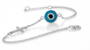 Evil Eye Store Blue Evil Eye Cross Silver Bracelet with Cz Stones