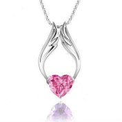 Fashion White Rhodium Plated Heart Pink Synthetic Stone Angel Wings Pendant with Free 46cm Necklace Chain