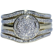 Wedding Ring set 3 piece 0.33ct w Round Halo Engagement ring and 2 band matching