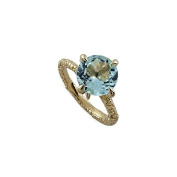 Hand Crafted Eagle Claw Artistic Non Traditional 3.5CT 14K Yellow Gold Round Aquamarine Engagement Ring 2.5mm Wide