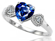 Tommaso Design Created Sapphire and Diamond Heart-Shape Engagement Promise Ring