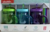 Aladdin 3 Classic Mason Jar Tumblers w/Straws & Lids Green Turquoise Purple 590ml