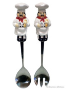 New Ceramic Fat French Chef Salad Server Set Fork & Spoon Servers