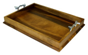 Mountain Woods Extra Large (60cm X 41cm ) Acacia Wood Luxury Serving Tray w/ Ornamental Metal Handles