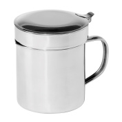Oggi 7324 Stainless Steel Grease Can with Hinged Lid and Removable Strainer - 0.9l