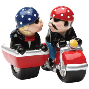 Husband and Wife Biker Motorcycle and Sidecar Salt and Pepper Shakers Set