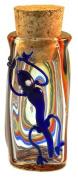 Lizard Swirl Hand Blown Pyrex Jar w/Cork - 8.9cm