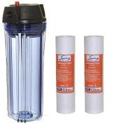 iSpring HC14-2PP 25cm Whole House Water filter Housing with 1.3cm NPT and 2 Sediment filter s
